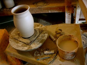 vase on potters wheel
